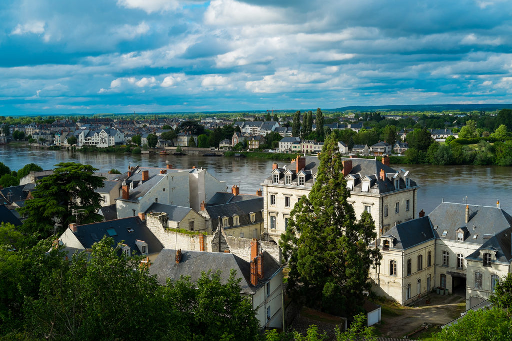 View on the village of Saumur with Loire river, France